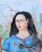 Frida Kahlo(Watercolor on paper) In the Style of