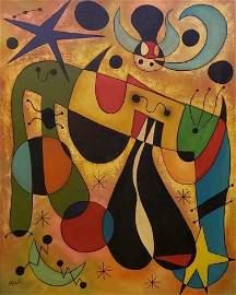 Joan Miro (Oil on Cnavas) In The Style of