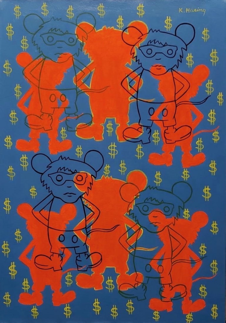 Keith Haring (Acrylic on Canvas) In the Style of