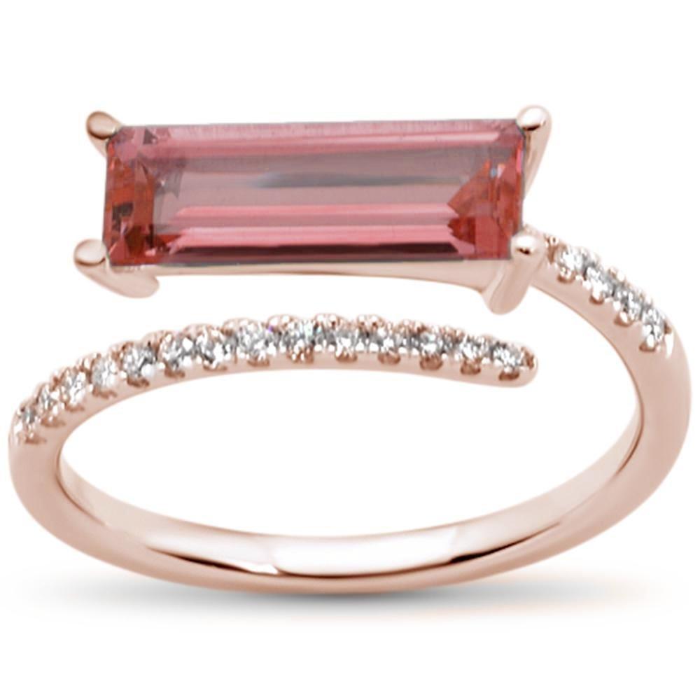 14k Natural Garnet Wrap Around Rose Gold Diamond Ring