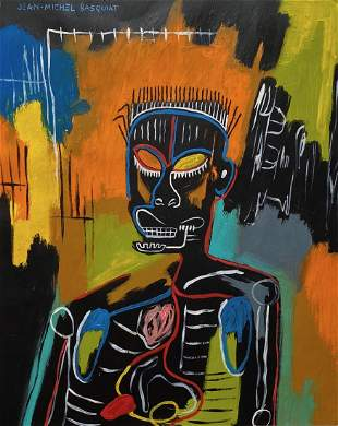 Jean Michel Basquiat (Mixed media on paper) Style of