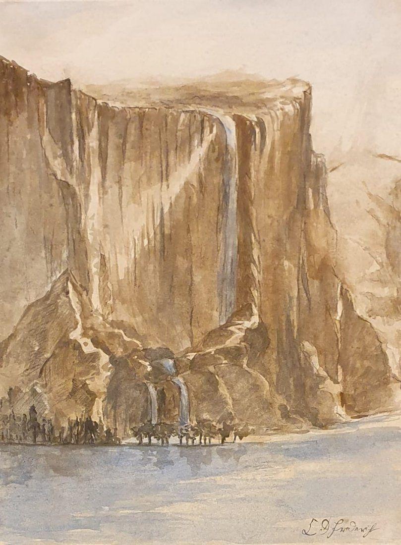 Caspar Friedrich (Watercolor on Paper) in the style of