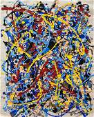 Jackson Pollock (Gouache on Paper) In the Style of