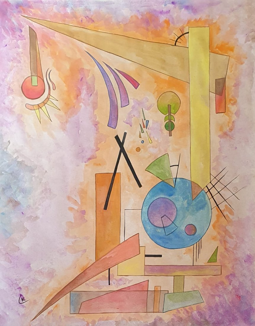 Wassily Kandinsky (Watercolor on Paper) in the style of