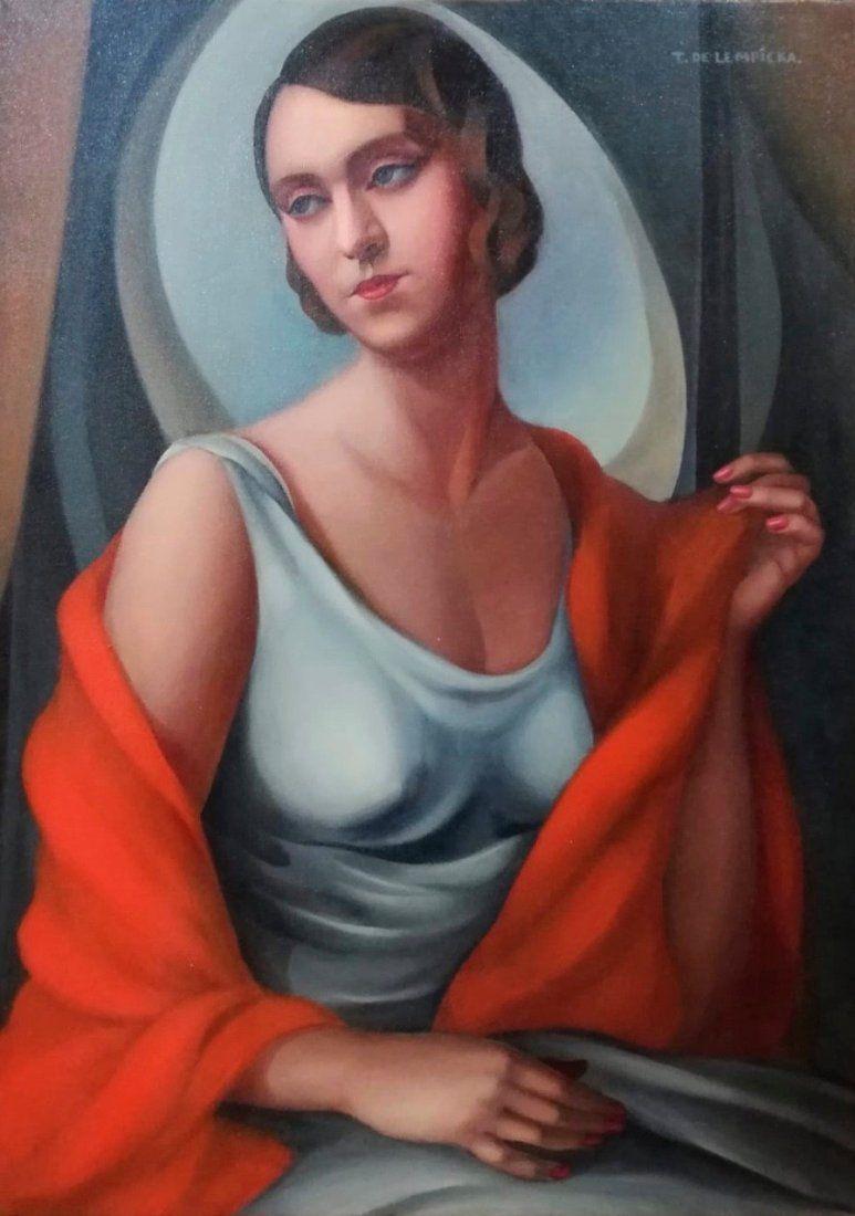 Tamara de Lempicka (Oil on Canvas) In the style of