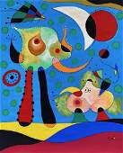 Joan Miro (Gouache on Paper) In The Style of