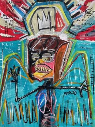Jean Michel Basquiat (Oil on Paper)