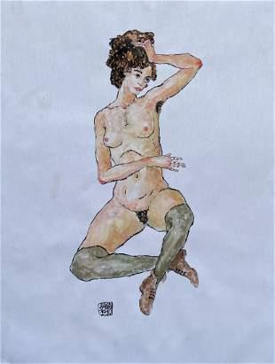 Egon Schiele (Watercolor on Paper)