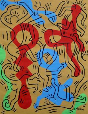 Keith Haring (Gouache on Paper)