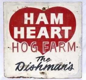 """Trade Sign: """"Ham Heart Hog Farm"""""""