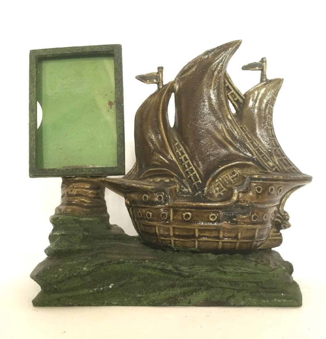 Pot Metal Picture Frame with Ship