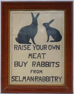 1940's Pen & Ink Ad for Selman Rabbits
