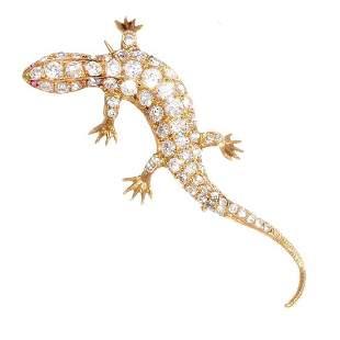 French Salamandre Diamond Ruby 18K Gold Brooch