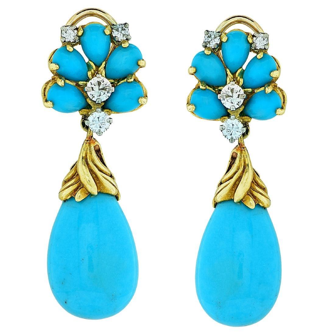 Vintage 18K Gold Turquoise Diamond Earrings