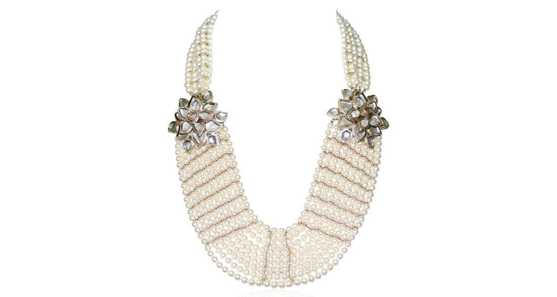 Chanel Gripoix Camellia 9 Strand Pearl Necklace