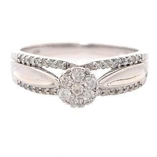 10K Gold Diamond Engagement Ring, .35ct