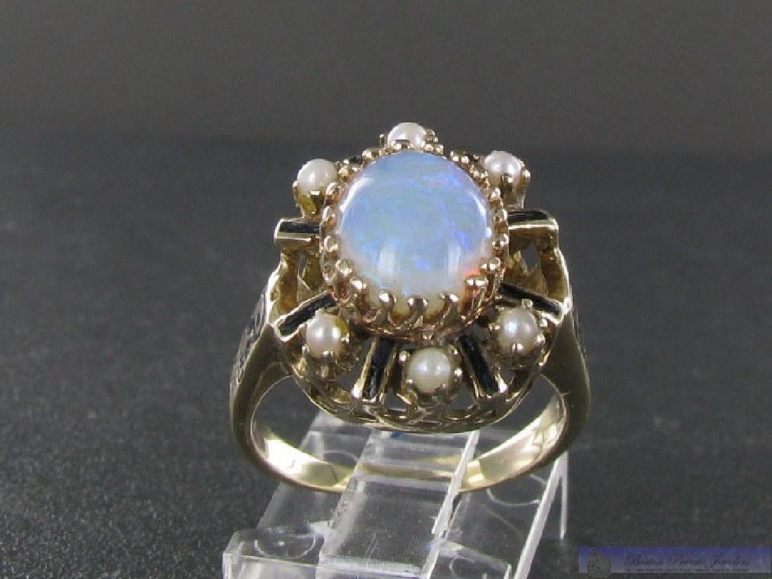 Vintage 14k Gold Pearl & Diamond Cocktail Ring