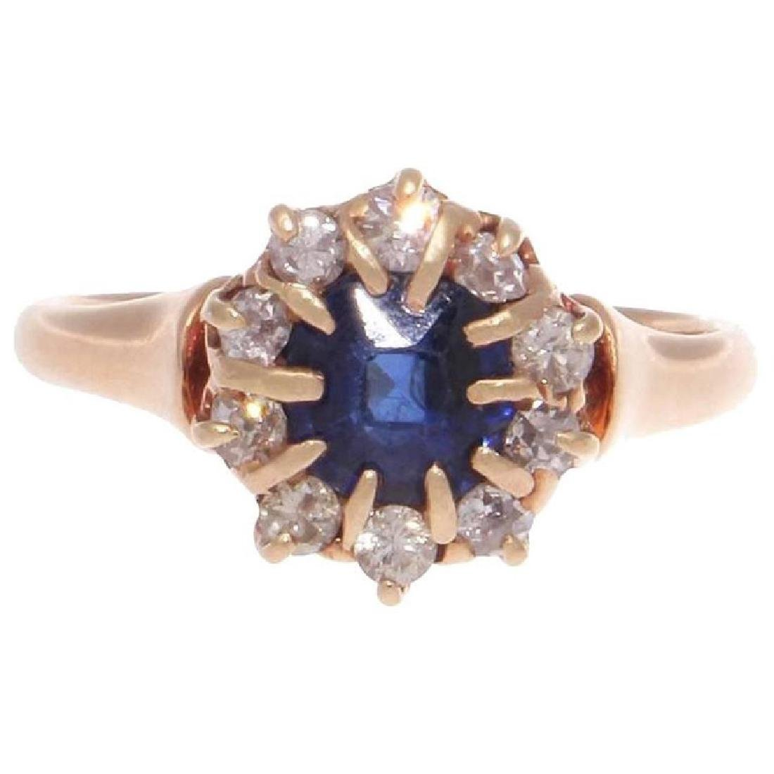 Antique Sapphire Diamond Gold Ring