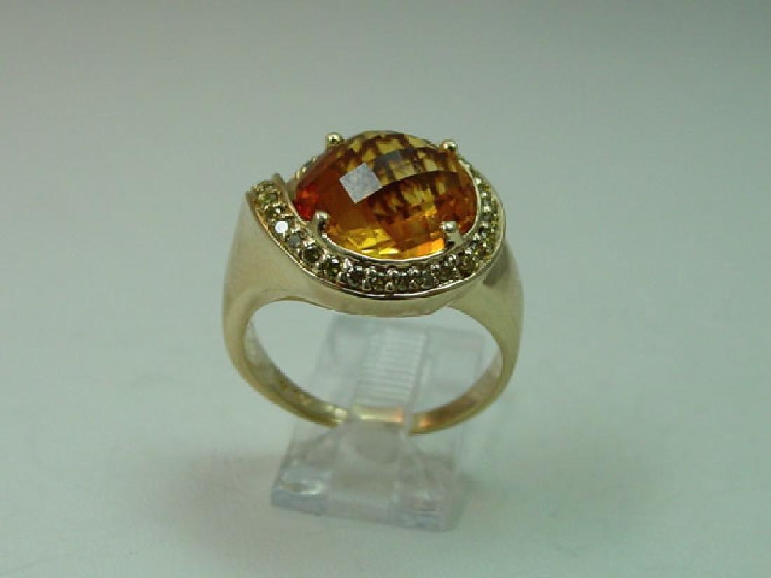 Ladies 14K Gold Diamond Fancy Cut Citrine Ring