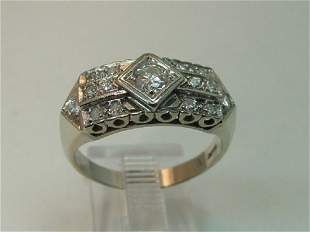 Vintage 14k Gold Art Deco Style Diamond Ring