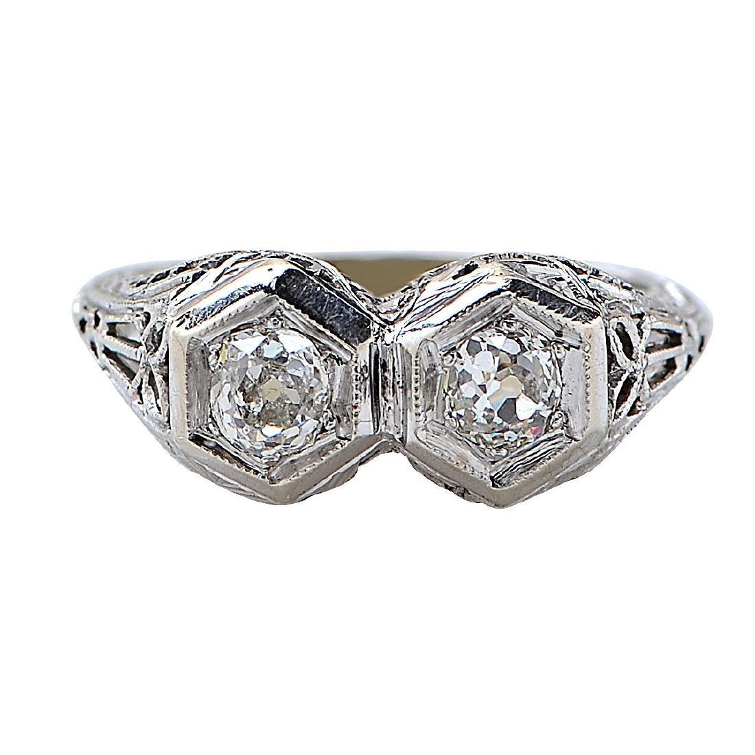 Antique 18K Gold Diamond Ring, .66ctw