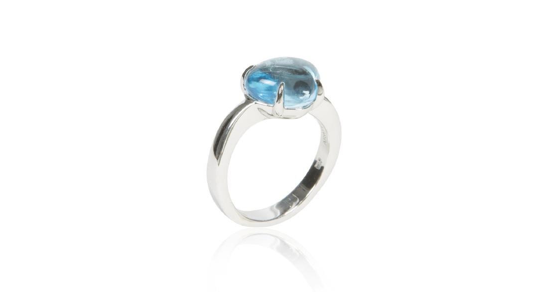 Bvlgari Sassi 18K Gold Blue Topaz Cabochon Ring