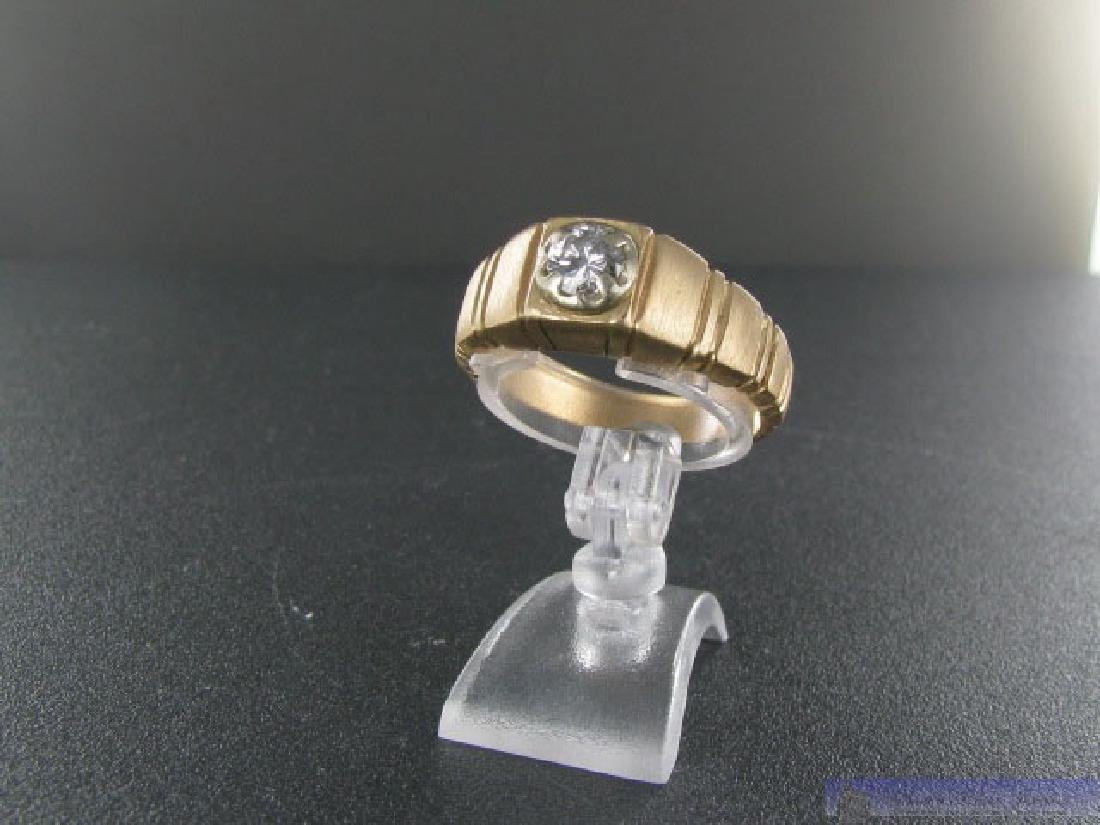 Mens 14k Gold Piaget Polo Style Diamond Ring