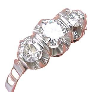 Vintage Mid Century Diamond Platinum 3 Stone Ring