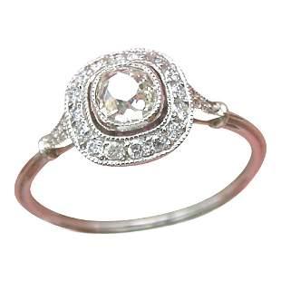 Antique Platinum Diamond Halo Engagement Ring