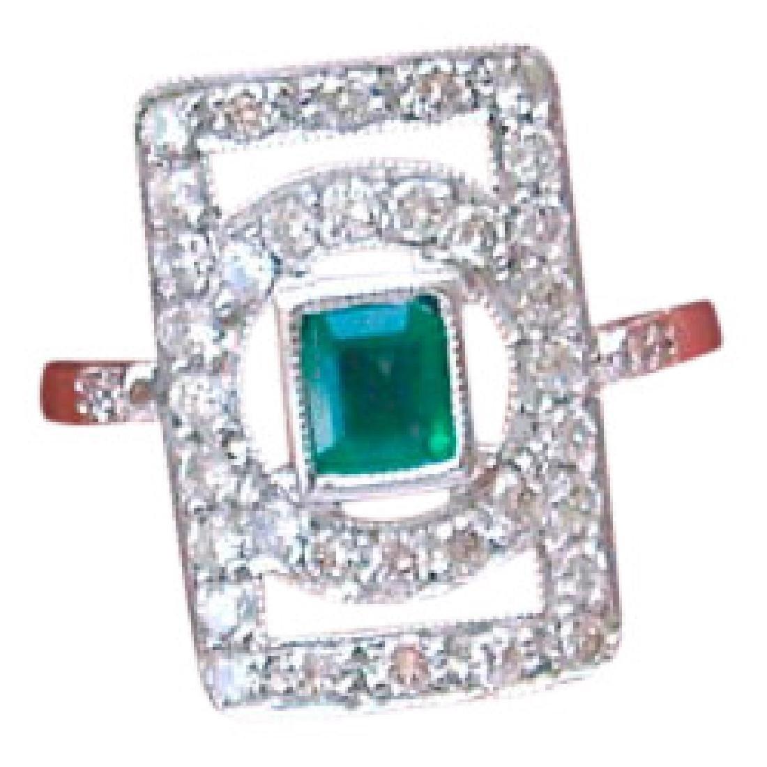 Deco Diamond Emerald Platinum Ring
