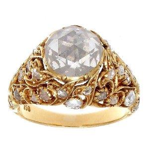 Victorian Turkish Rose Cut Diamond 18K Gold Ring