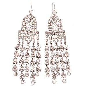Victorian Diamond Platinum Chandelier Earrings