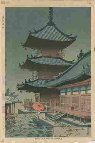 Asano Takeji: Rain in Kiymizu Temple
