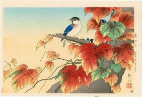 Gakusui Ide: Japanese Ivy and Blue Titmouse