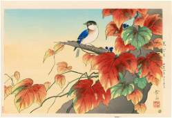 Gakusui Ide Japanese Ivy and Blue Titmouse