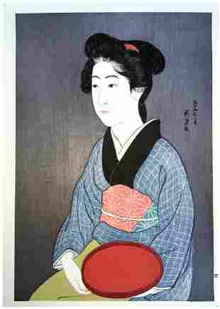 Goyo Hashiguchi: Waitress with a Red Tray