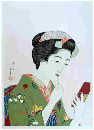Goyo Hashiguchi: Woman Applying Lipstick