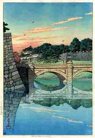 Hasui Kawase: Morning at Niju Bridge