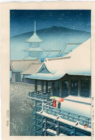 Hasui Kawase: Snow at Kiyomizu Temple, Kyoto