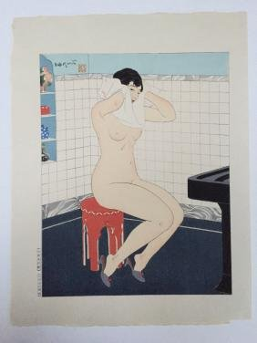 Ishikawa Toraji: Nude Woman Drying Hair