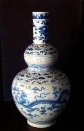 Chinese Ming Blue & White Dragon Vase