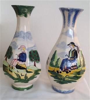 2 Desvers Handpainted Ceramic Vases