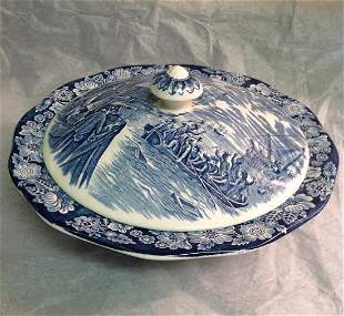 Liberty Blue Staffordshire Covered Bowl