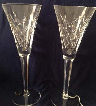 2 Waterford Crystal Toast Flutes
