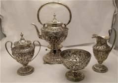 S Kirk & Son Repousse Sterling 4 Piece Tea Set