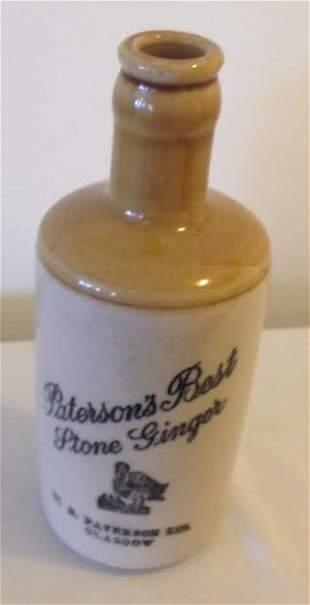 Antique Petersons Glazed Ginger Stoneware Beer Bottle