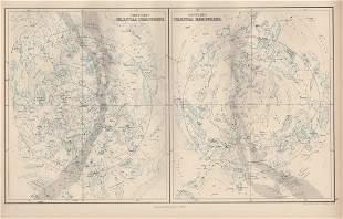 Map of Celestial Hemispheres, 1885