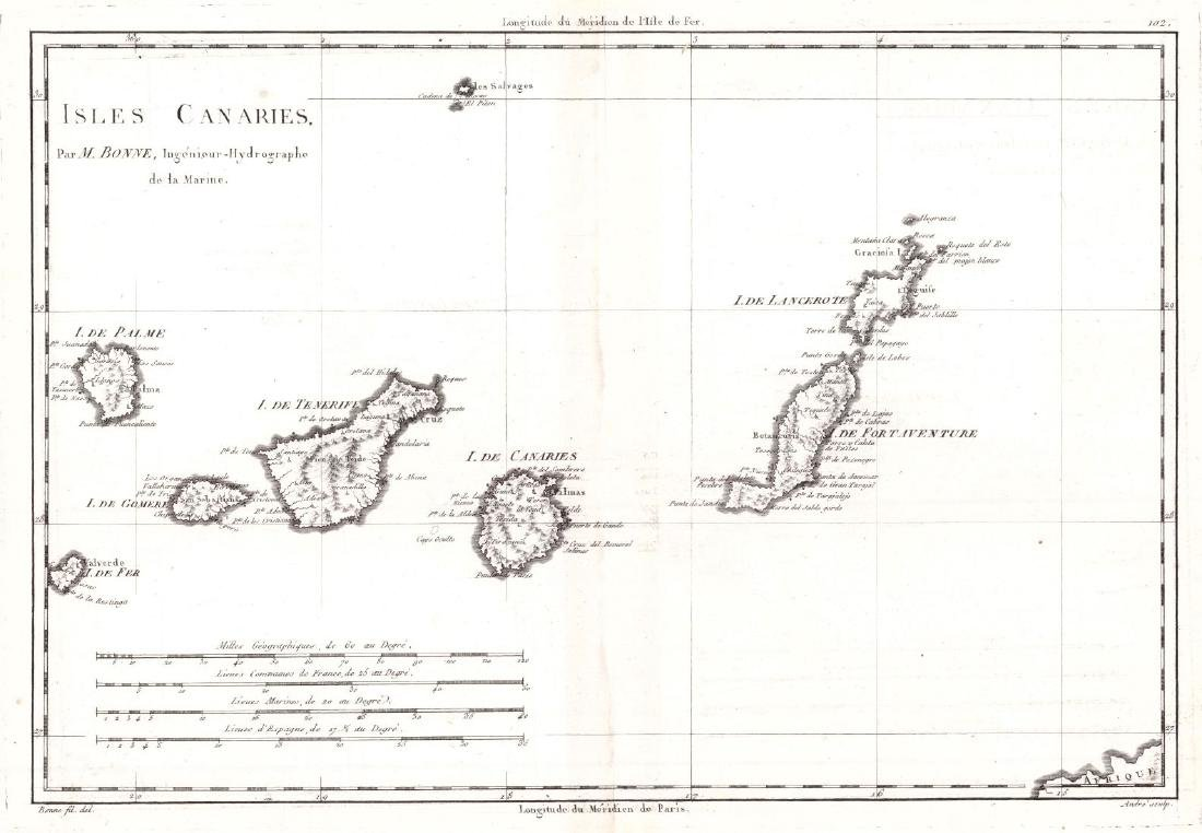 Map of Isles Canaries, 1782