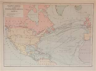 Map of Atlantic Ocean Communication, 1885