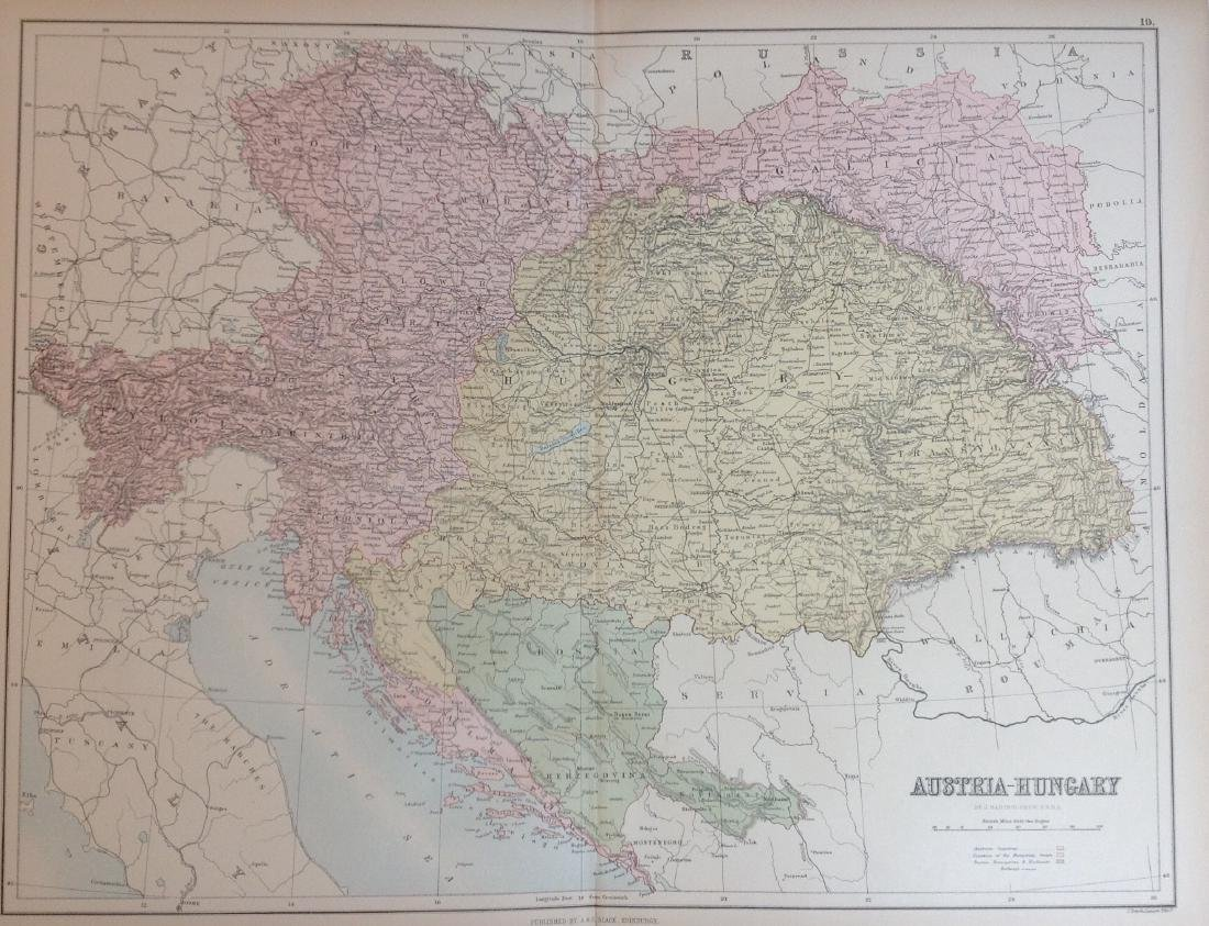 Map of Austria-Hungary, 1885